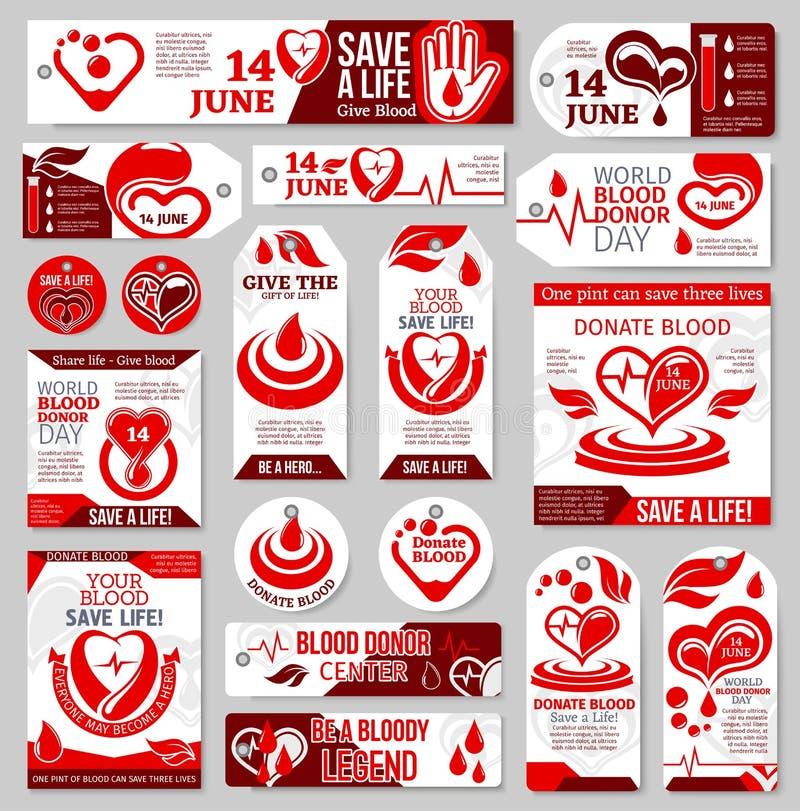 A etiqueta, a etiqueta e a bandeira do dia do doador de sangue do mundo projetam ilustração do vetor
