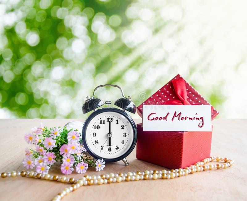 Etiqueta e despertador do bom dia imagens de stock royalty free