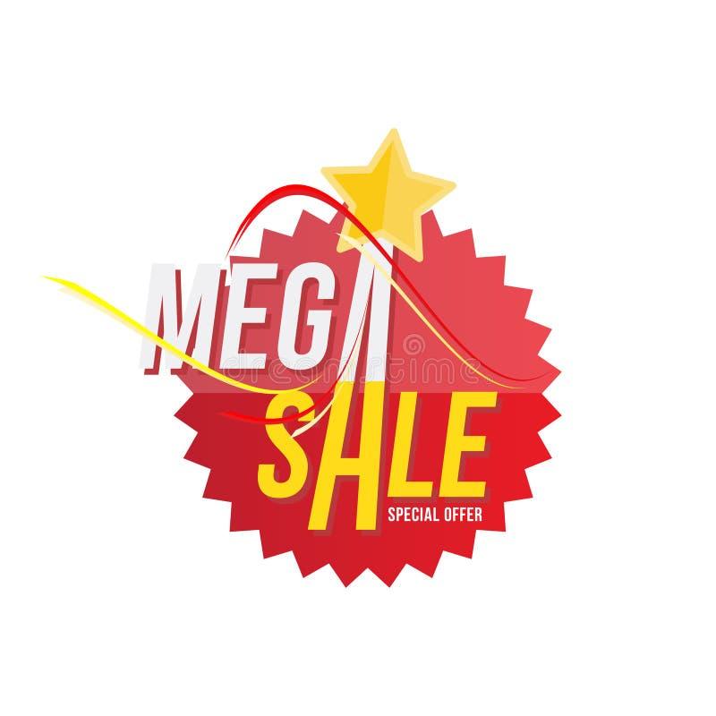 Etiqueta e estrela vermelhas com disconto mega da venda Molde do emblema com vetor liso eps 10 da oferta especial ilustração do vetor