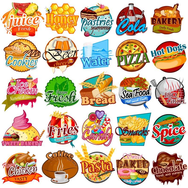 Etiqueta e etiqueta da etiqueta para o alimento diferente ilustração royalty free