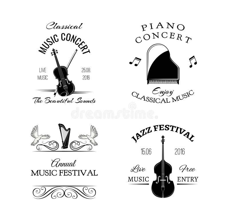 Etiqueta e insignia retras del vintage de la música Guitarra, piano Jazz Festival Bajo doble ilustración del vector