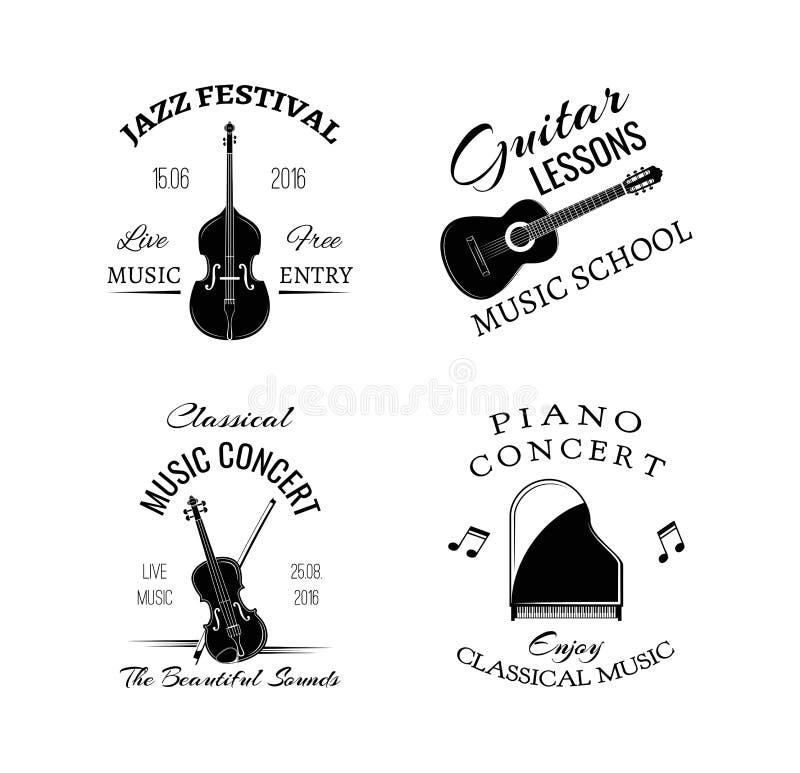 Etiqueta e insignia retras del vintage de la música Guitarra, piano Jazz Festival Bajo doble Vector stock de ilustración