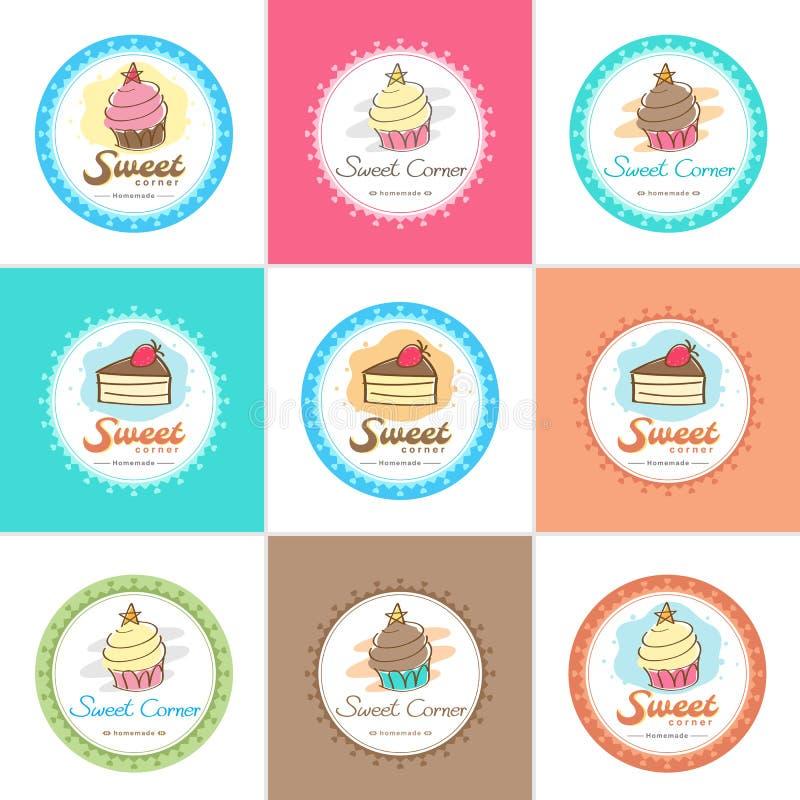 Etiqueta e logotipo doces do crachá da padaria ilustração royalty free