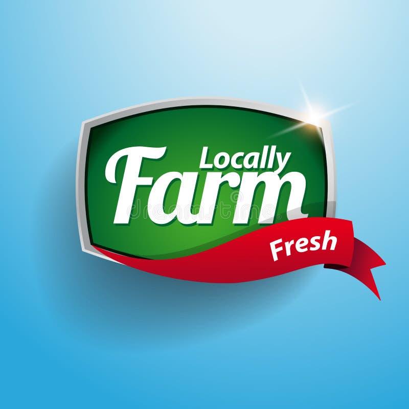 Etiqueta, emblema ou selo do alimento da exploração agrícola ilustração do vetor