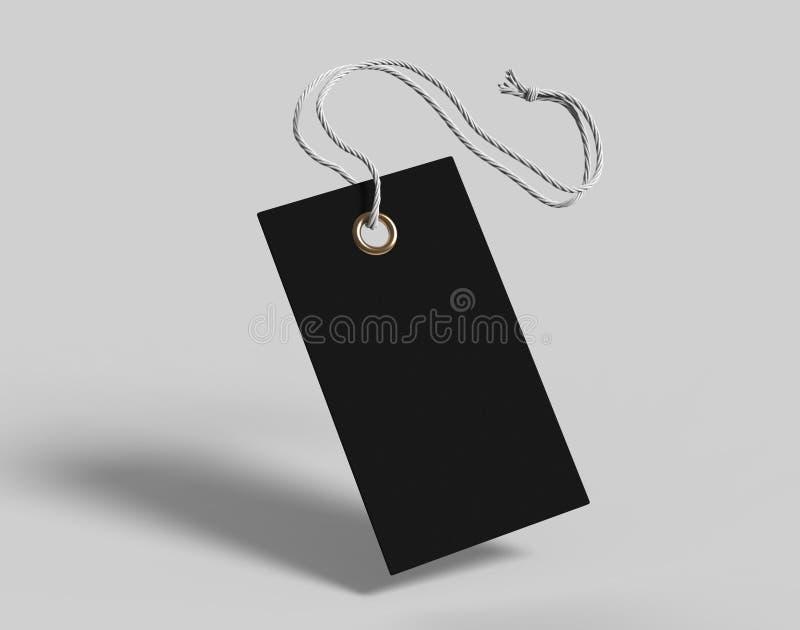 Etiqueta en blanco atada con la cadena Precio, etiqueta del regalo, etiqueta de la venta, etiqueta de dirección aislada en fondo  stock de ilustración