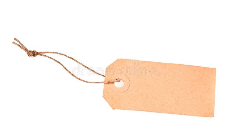 Etiqueta en blanco con una cadena fotografía de archivo libre de regalías