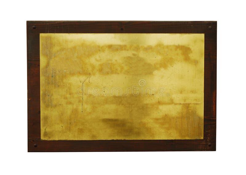 Etiqueta en blanco del metal con el marco imágenes de archivo libres de regalías