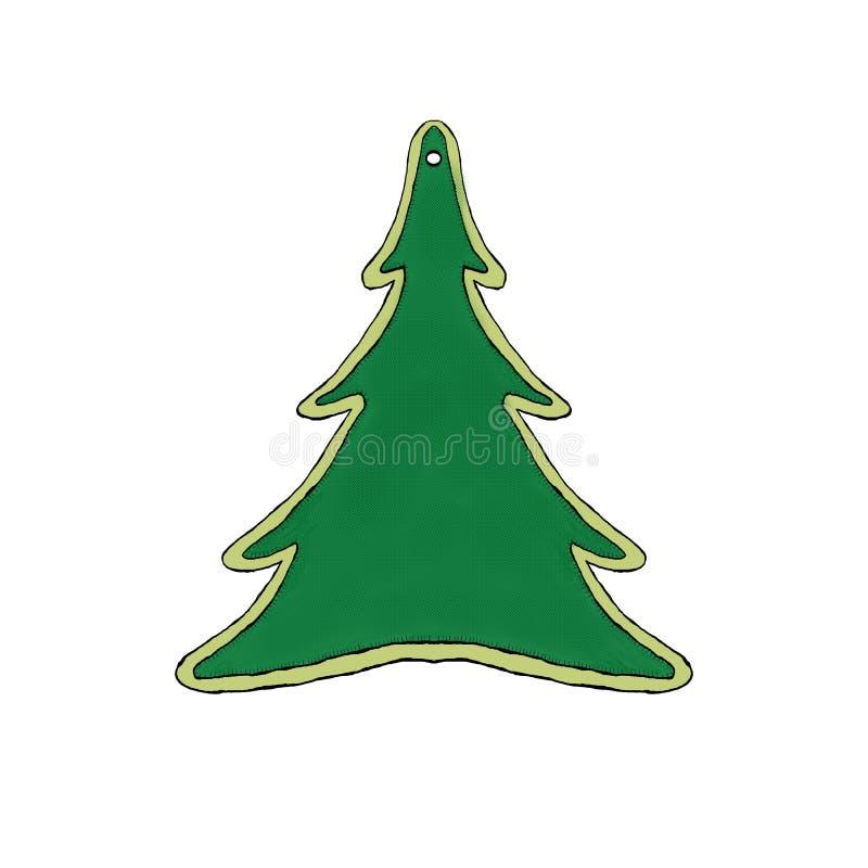 Etiqueta en la forma del árbol ilustración del vector