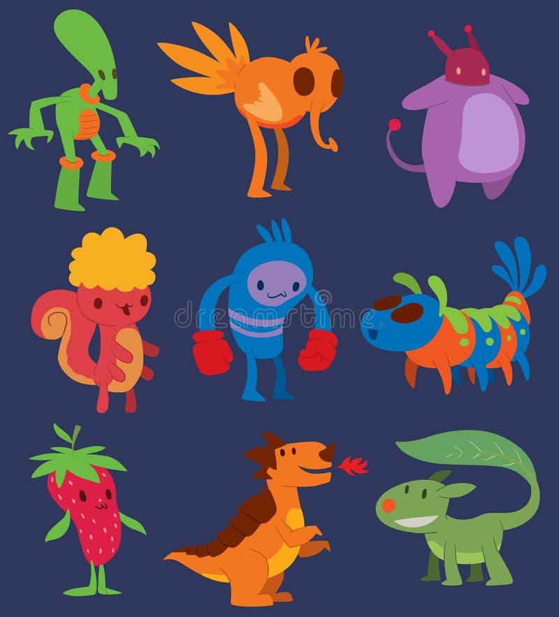 Etiqueta engomada única de la expresión del diseño del vector del carácter del monstruo del elemento del humor del emoticon de la ilustración del vector