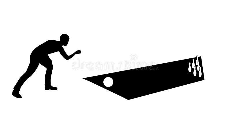 Etiqueta engomada al kegelman de la silueta del coche bowler Un juego de los bolos V ilustración del vector