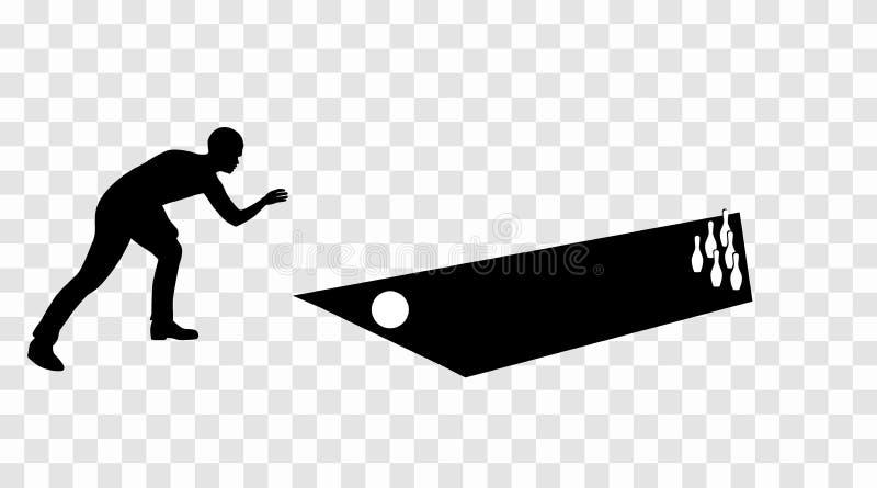 Etiqueta engomada al kegelman de la silueta del coche bowler Un juego de los bolos V stock de ilustración