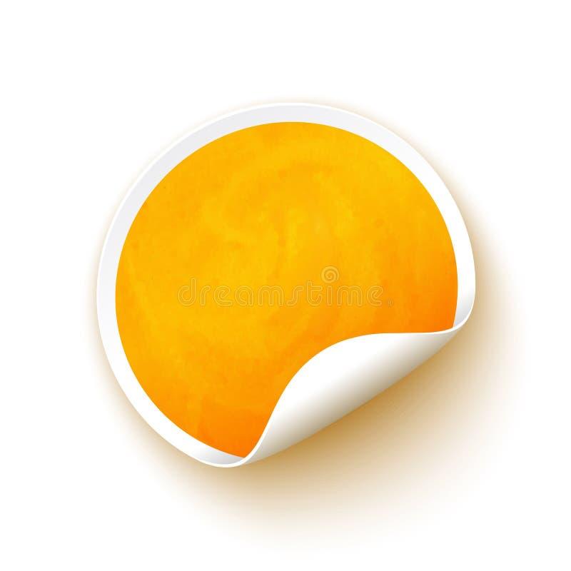 Etiqueta engomada amarilla del espacio en blanco de la acuarela stock de ilustración