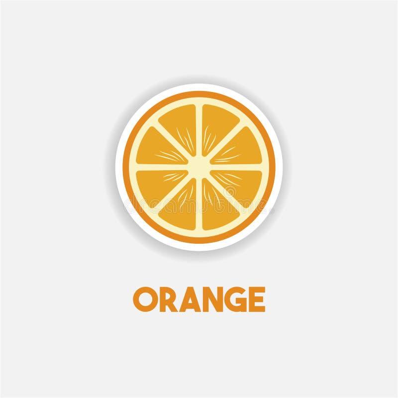 Etiqueta engomada anaranjada de la historieta en estilo de los tebeos con contorno Elemento del ejemplo de la educaci?n Alimento  stock de ilustración