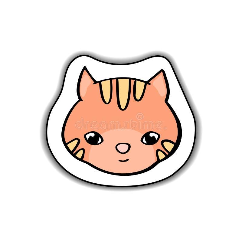Etiqueta engomada animal del vector de la cara del gato lindo con la sombra en el fondo blanco Gatito anaranjado divertido Logoti ilustración del vector
