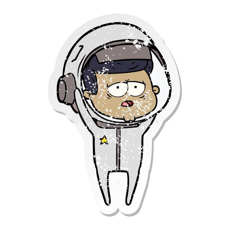 etiqueta engomada apenada de un astronauta cansado de la historieta ilustración del vector