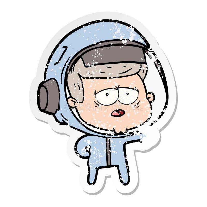 etiqueta engomada apenada de un astronauta cansado de la historieta libre illustration