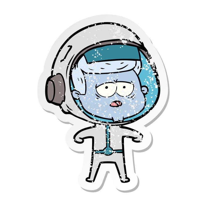etiqueta engomada apenada de un astronauta cansado de la historieta stock de ilustración