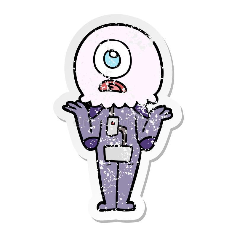 etiqueta engomada apenada de un astronauta extranjero de los cyclops de la historieta que encoge hombros stock de ilustración