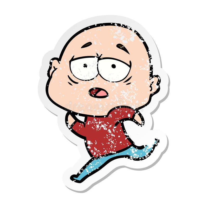 Etiqueta engomada apenada de un hombre calvo cansado de la historieta libre illustration