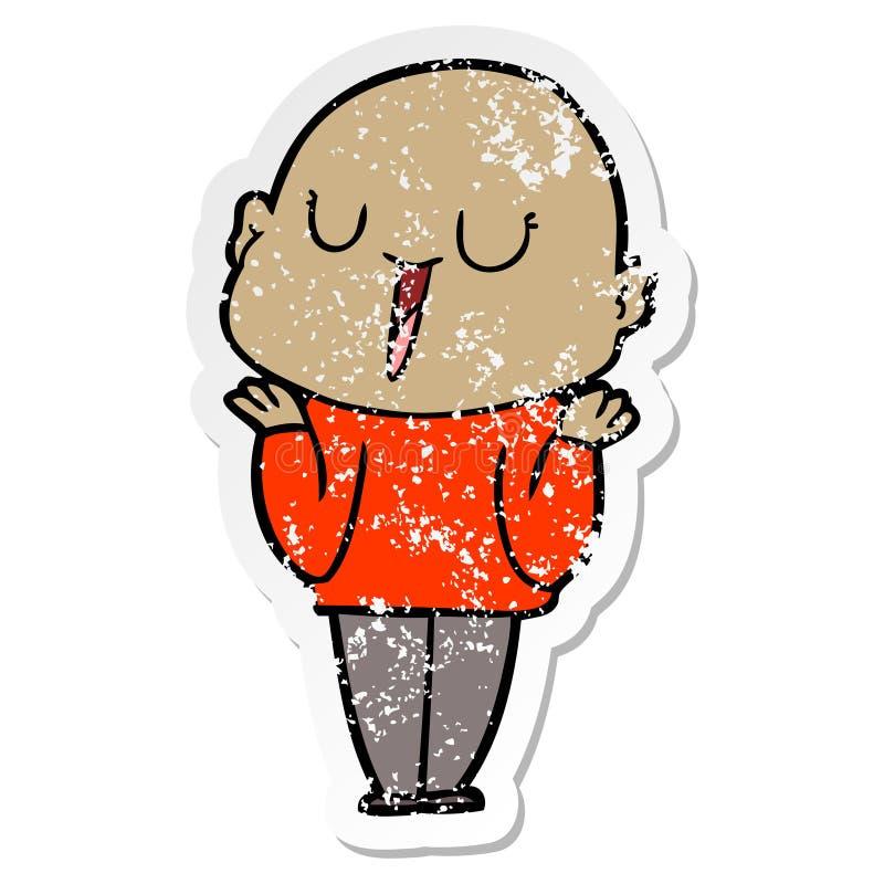 etiqueta engomada apenada de un hombre calvo de la historieta feliz que encoge hombros ilustración del vector