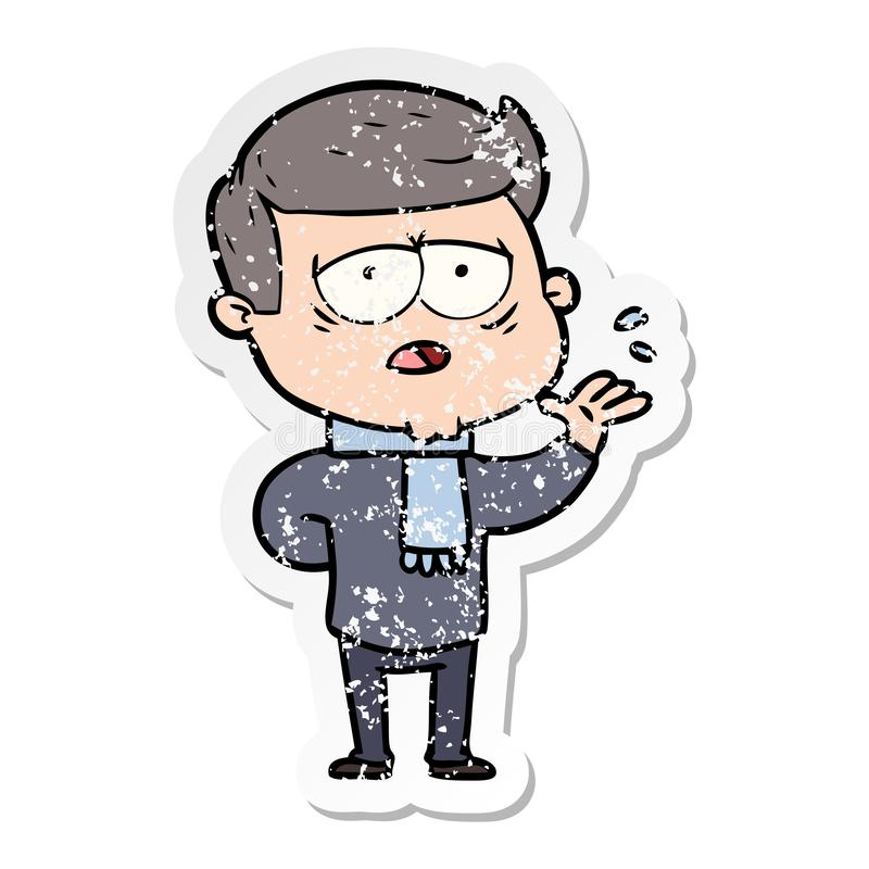 etiqueta engomada apenada de un hombre cansado de la historieta ilustración del vector