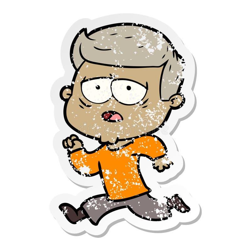etiqueta engomada apenada de un hombre cansado de la historieta stock de ilustración