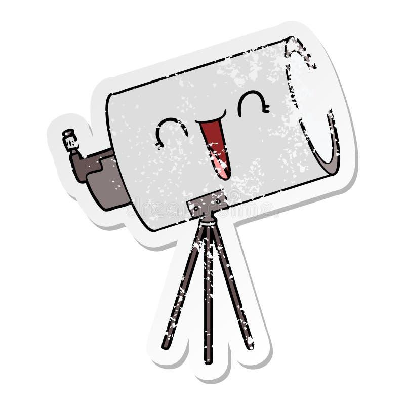 etiqueta engomada apenada de un telescopio de la historieta con la cara libre illustration