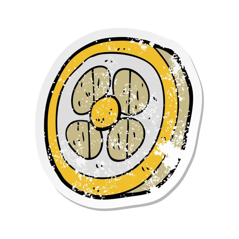 etiqueta engomada apenada retra de un escudo medieval de la historieta stock de ilustración