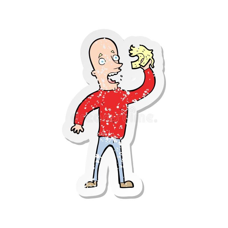 etiqueta engomada apenada retra de un hombre calvo de la historieta con la peluca stock de ilustración