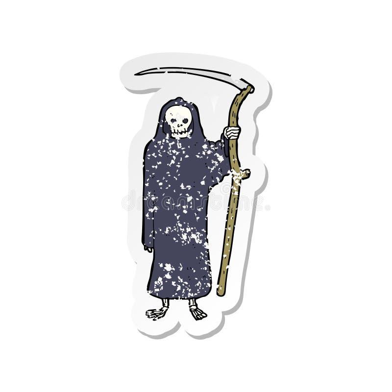 Etiqueta engomada apenada retra de una historieta de la muerte stock de ilustración