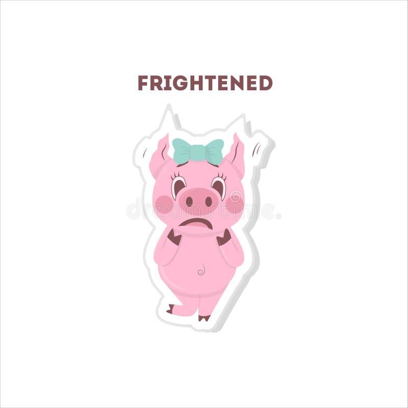 Etiqueta engomada asustada del cerdo libre illustration