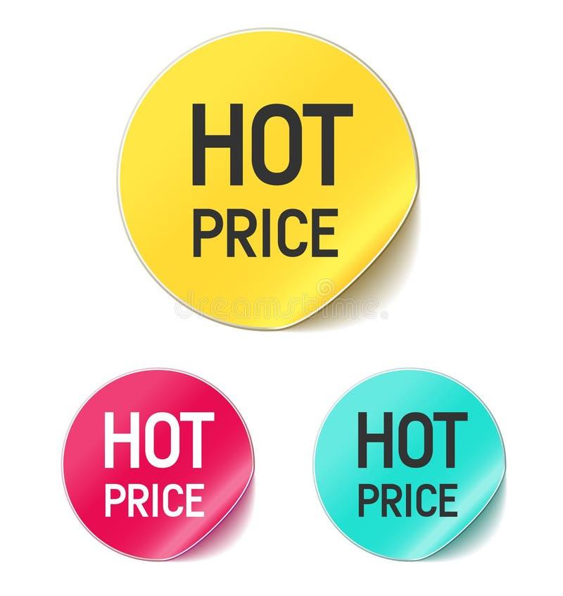Etiqueta engomada caliente del precio ilustración del vector