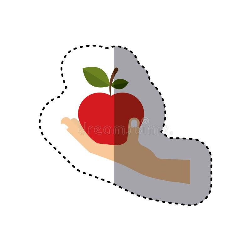 Etiqueta engomada colorida de la mano que sostiene la fruta de la manzana libre illustration