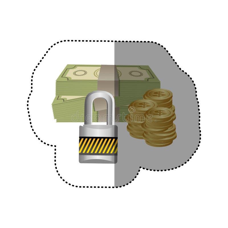 etiqueta engomada colorida de la silueta de cuentas y de monedas con la protección del candado libre illustration