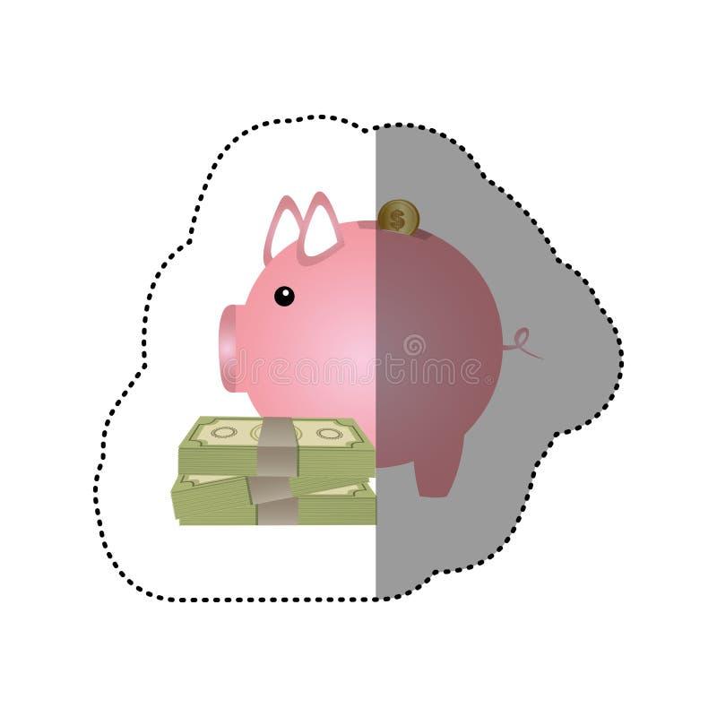 etiqueta engomada colorida de la silueta de la caja de dinero en la forma de guarro con las cuentas y las monedas ilustración del vector