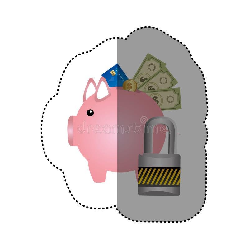 etiqueta engomada colorida de la silueta de la hucha con la tarjeta de crédito y cuentas y monedas protegidas stock de ilustración