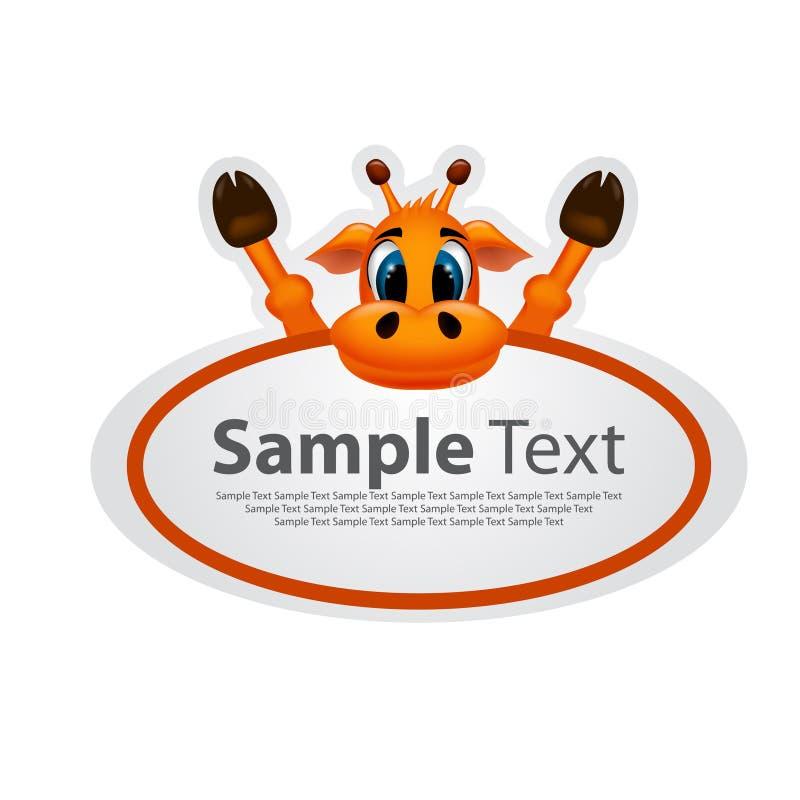 Etiqueta engomada con el diseño animal - jirafa stock de ilustración
