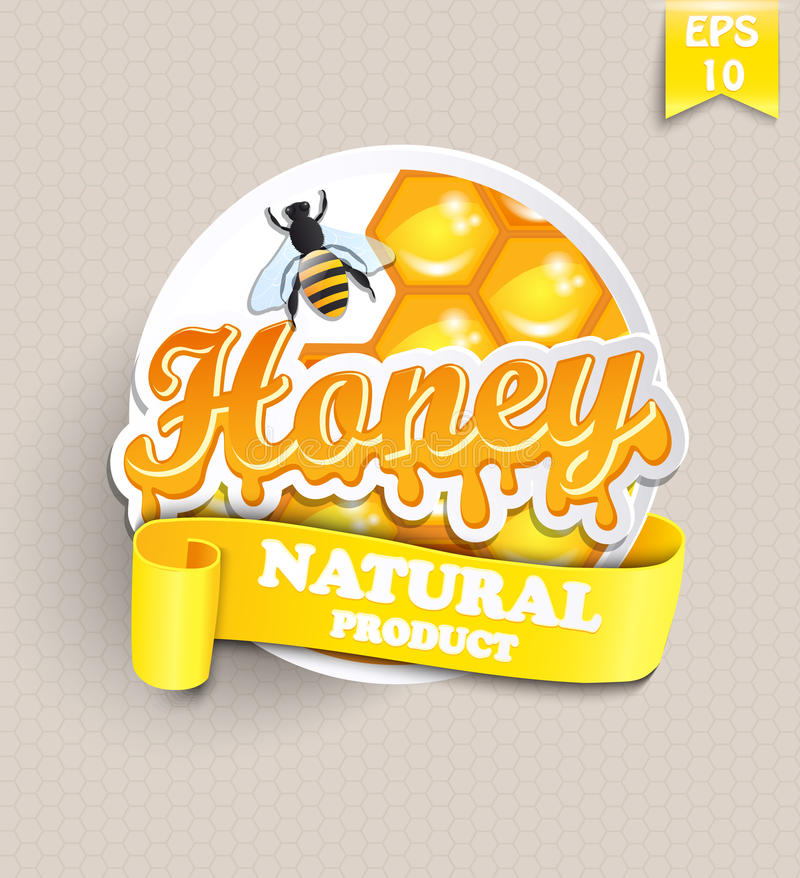 Etiqueta engomada con la miel stock de ilustración