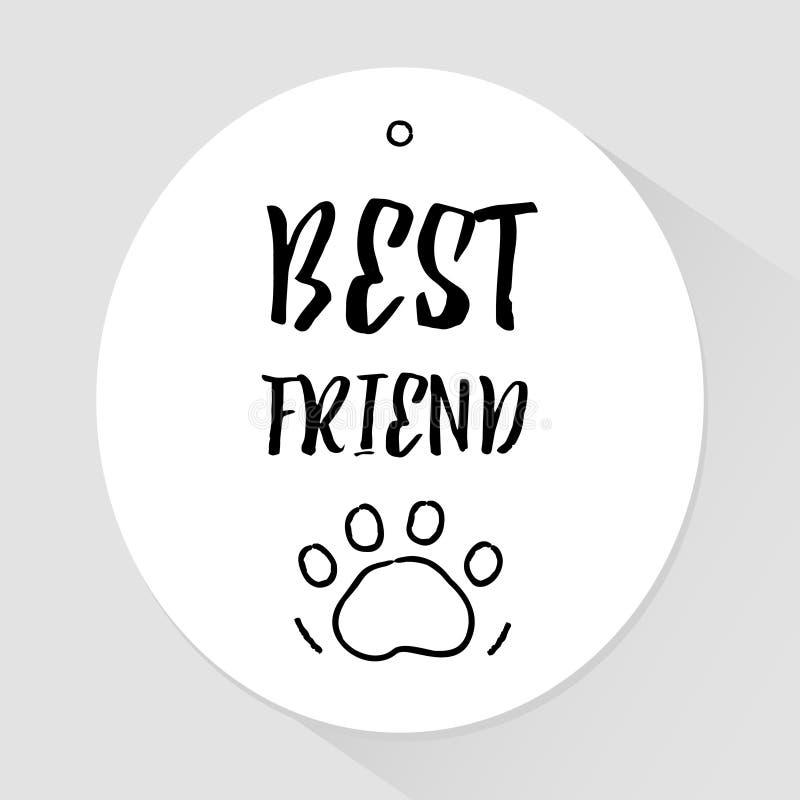 Etiqueta engomada con las patas del mejor amigo y del rastro del texto de las letras Vector stock de ilustración