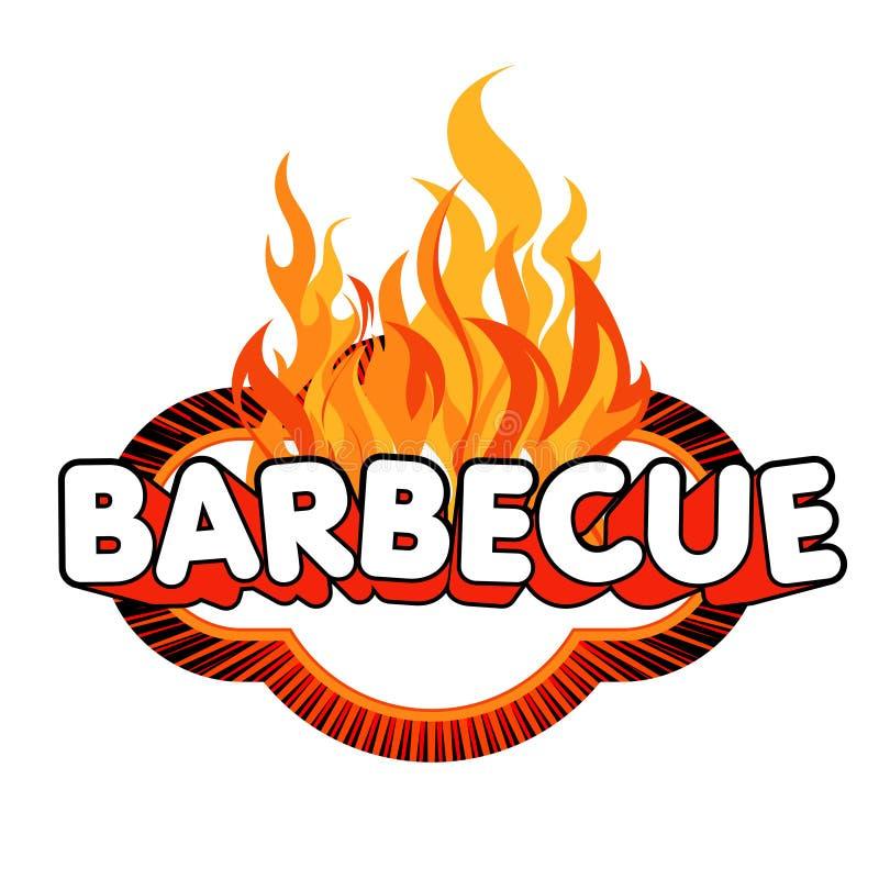 Etiqueta engomada de la barbacoa en fondo de las llamas. libre illustration