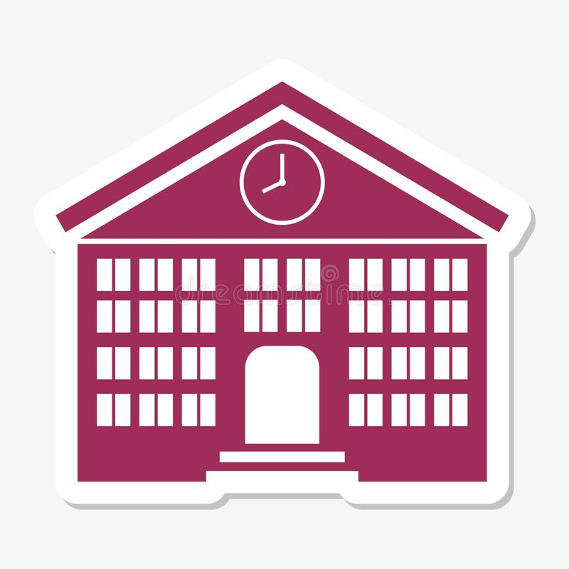 Etiqueta engomada de la construcción de escuelas ilustración del vector