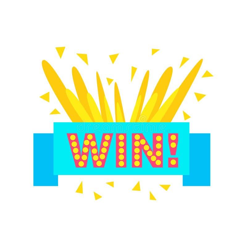 Etiqueta engomada de la enhorabuena del triunfo con la plantilla del diseño de Blue Ribbon para el final que gana del videojuego ilustración del vector