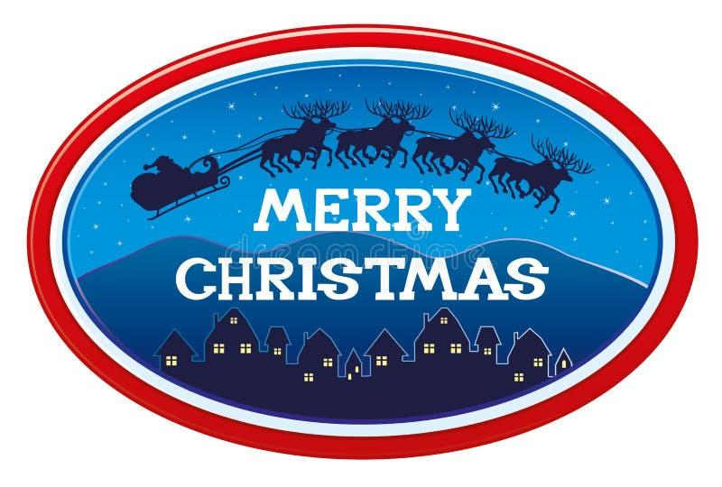 Etiqueta engomada de la Feliz Navidad stock de ilustración
