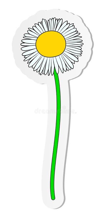 Etiqueta engomada de la flor de la margarita de la manzanilla en estilo plano de la historieta aislada en el fondo blanco libre illustration