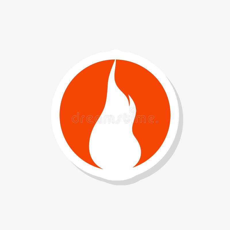 Etiqueta engomada de la llama del fuego Muestra aislada de la hoguera ilustración del vector