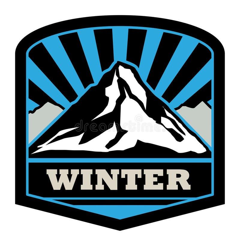 Etiqueta engomada de la montaña del invierno libre illustration