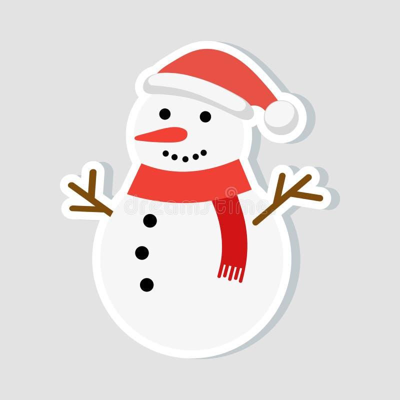 Etiqueta engomada de la Navidad Muñeco de nieve en un sombrero del Año Nuevo y una bufanda roja Icono del invierno Ilustración de stock de ilustración