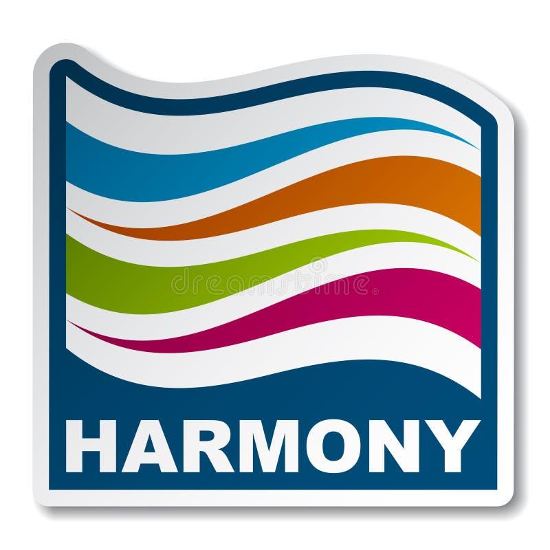 Etiqueta engomada de la onda del extracto de la armonía stock de ilustración