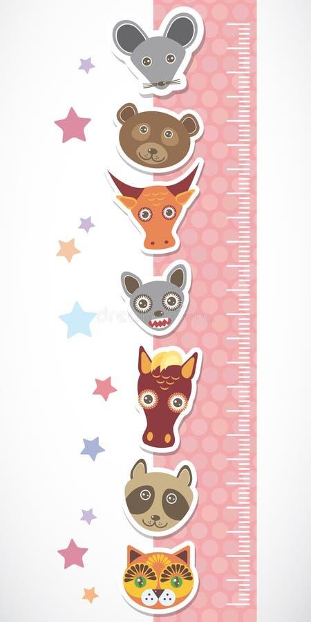 Etiqueta engomada de la pared del metro de la altura de los niños El sistema de animales divertidos abozala el stiker rosado con  ilustración del vector