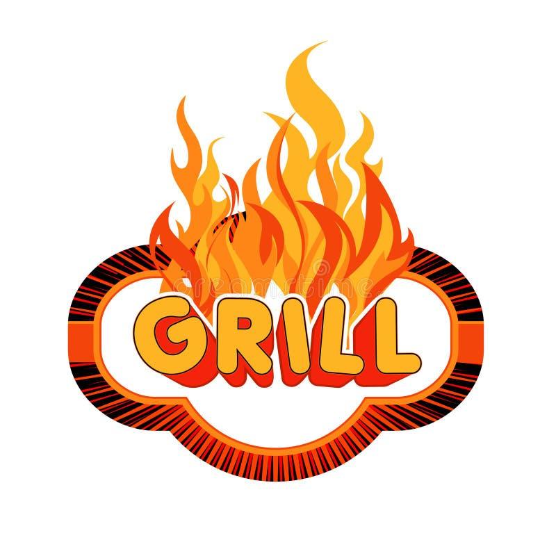 Etiqueta engomada de la parrilla en fondo de las llamas. stock de ilustración